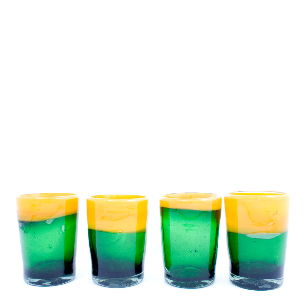 green and yellow tumbler