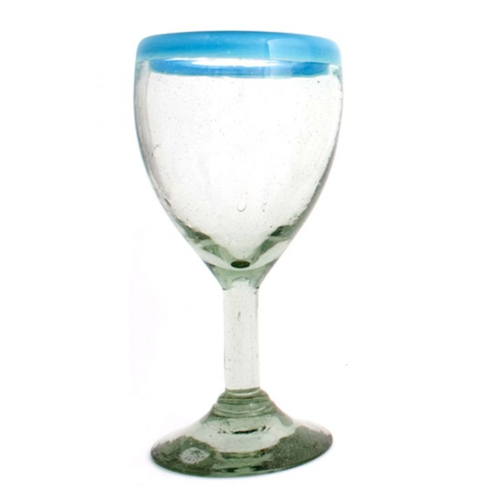Clear with a turquoise rim wine glass