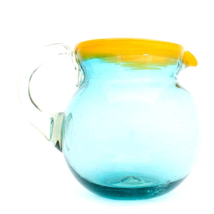 yellow and turquoise round jug