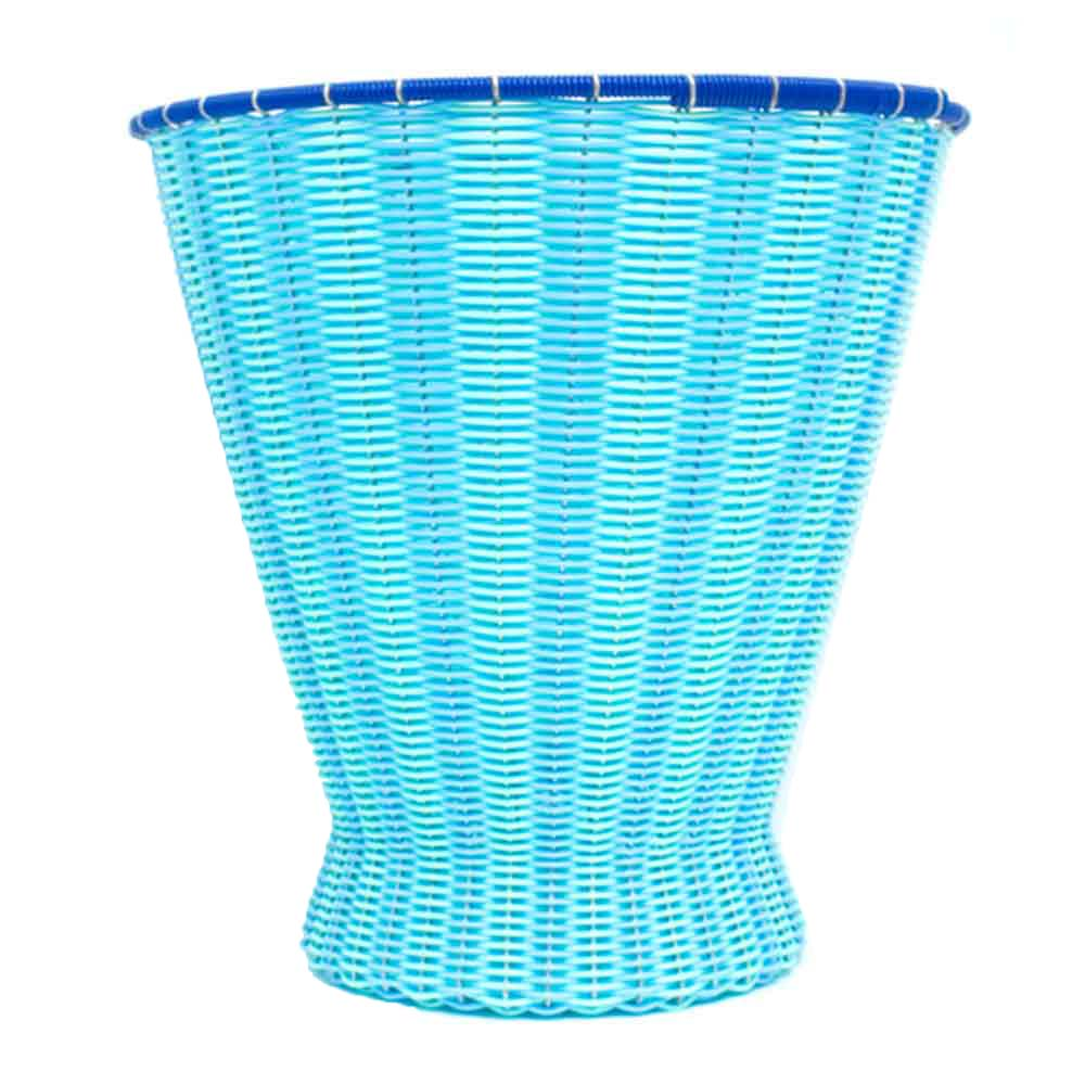sky blue and green paper basket
