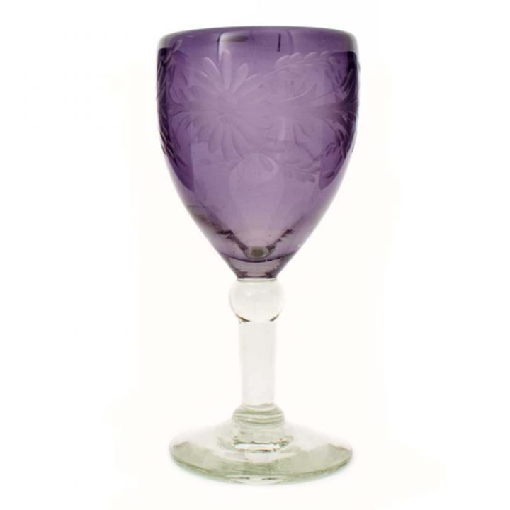 wine glass grape engraved
