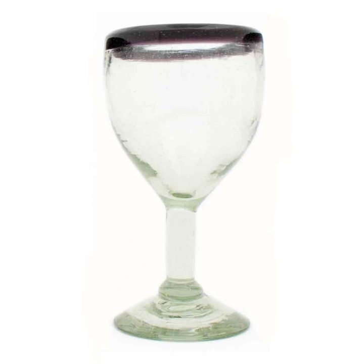 clear with purple rim wineglass