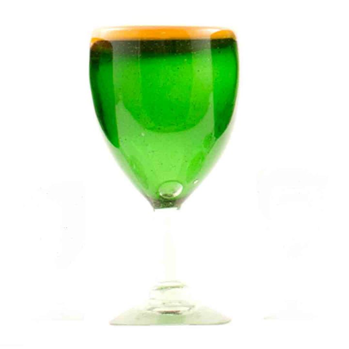 green and orange wine glass