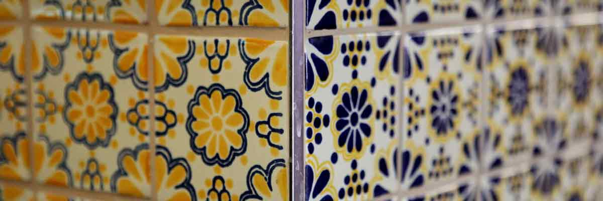 lace blue hand made tiles at chilangos camden