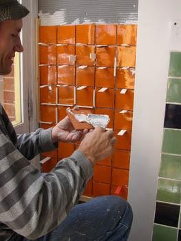 Tiling with mexican tiles.