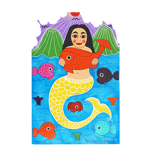 Mermaid with fish with volcanos