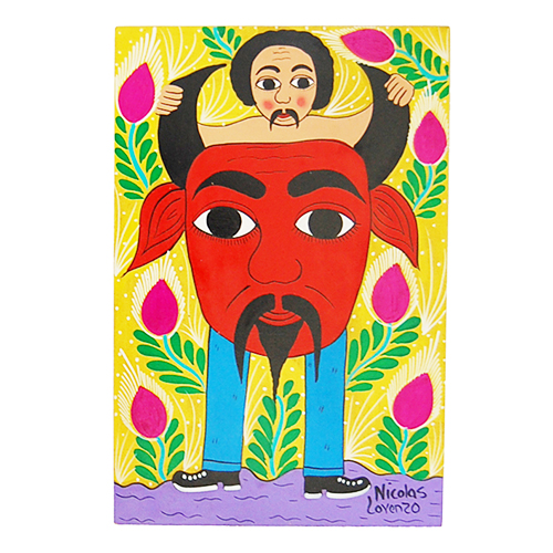 Devil and a man Mexican paintings
