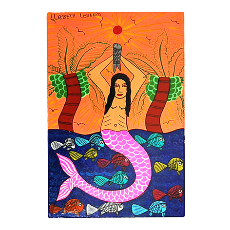 Mermaid at sunset Mexican paintings