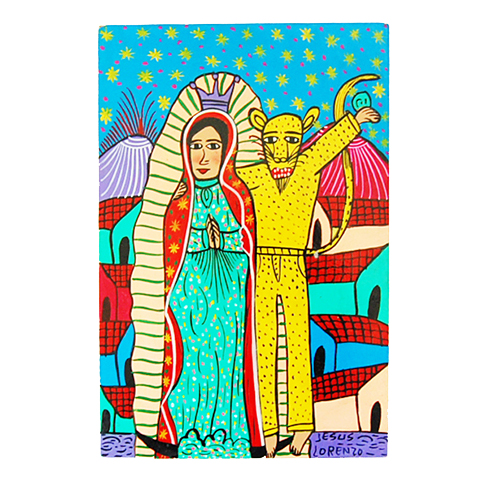 Virgin of Guadaloupe and leopard Mexican folk art