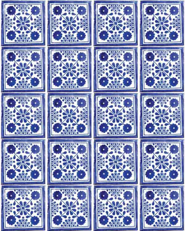 Damask blue hand made tiles.