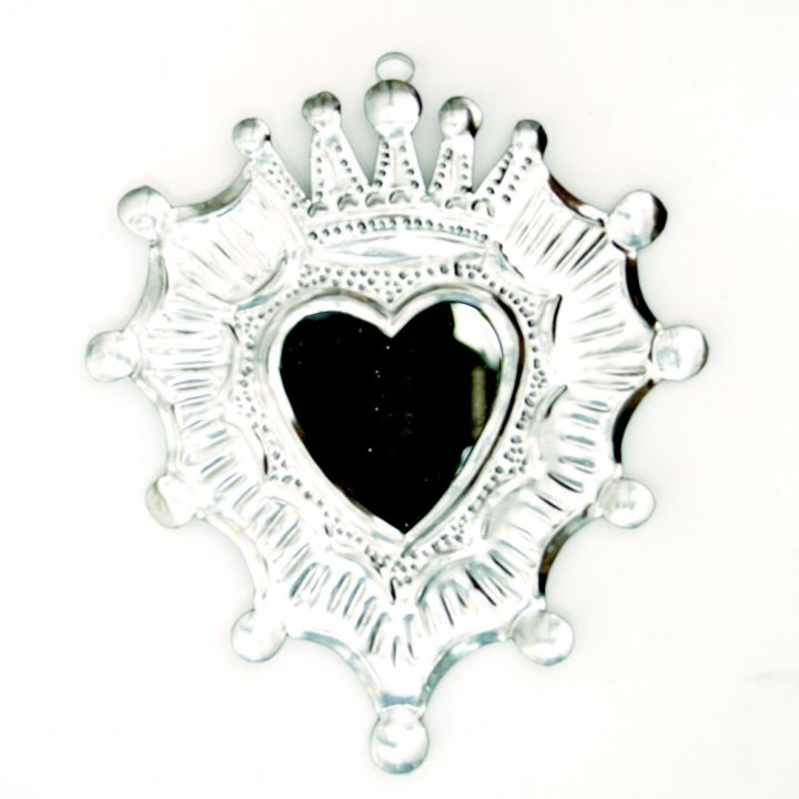 tin heart mirror hand made in Mexico