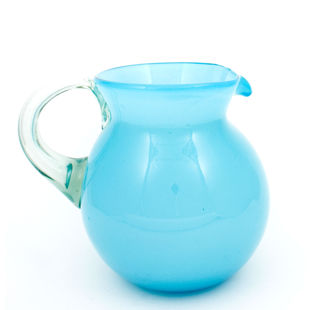 milky blue hand made mexican round jug