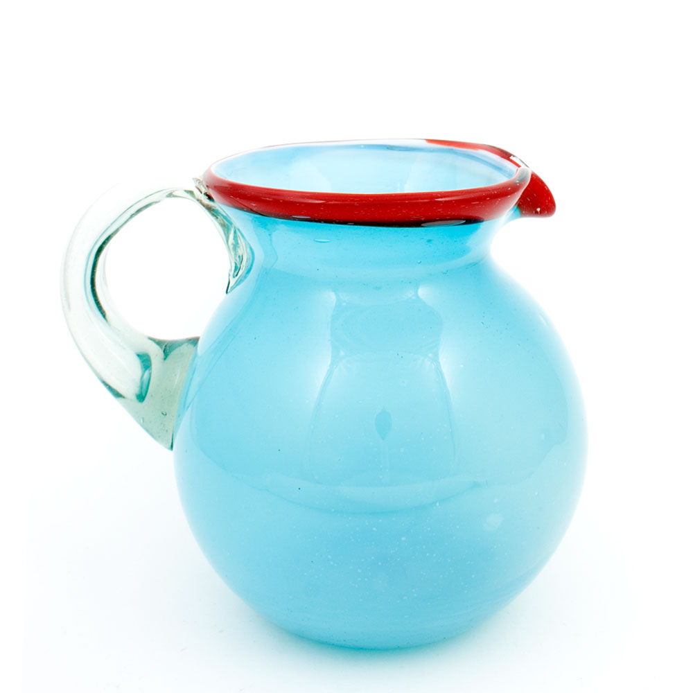 milky turquoise and red hand made mexican round jug