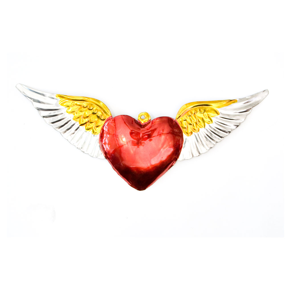 hand made mexican tin heart with wings