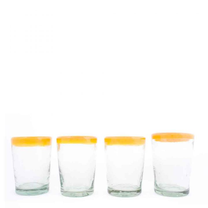 clear yellow rimmed tumbler