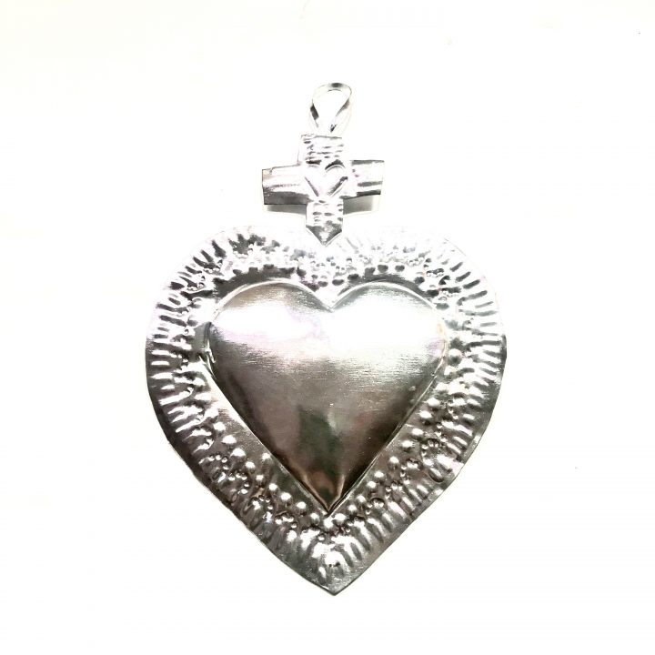 Tin heart with cross hand made in Mexico