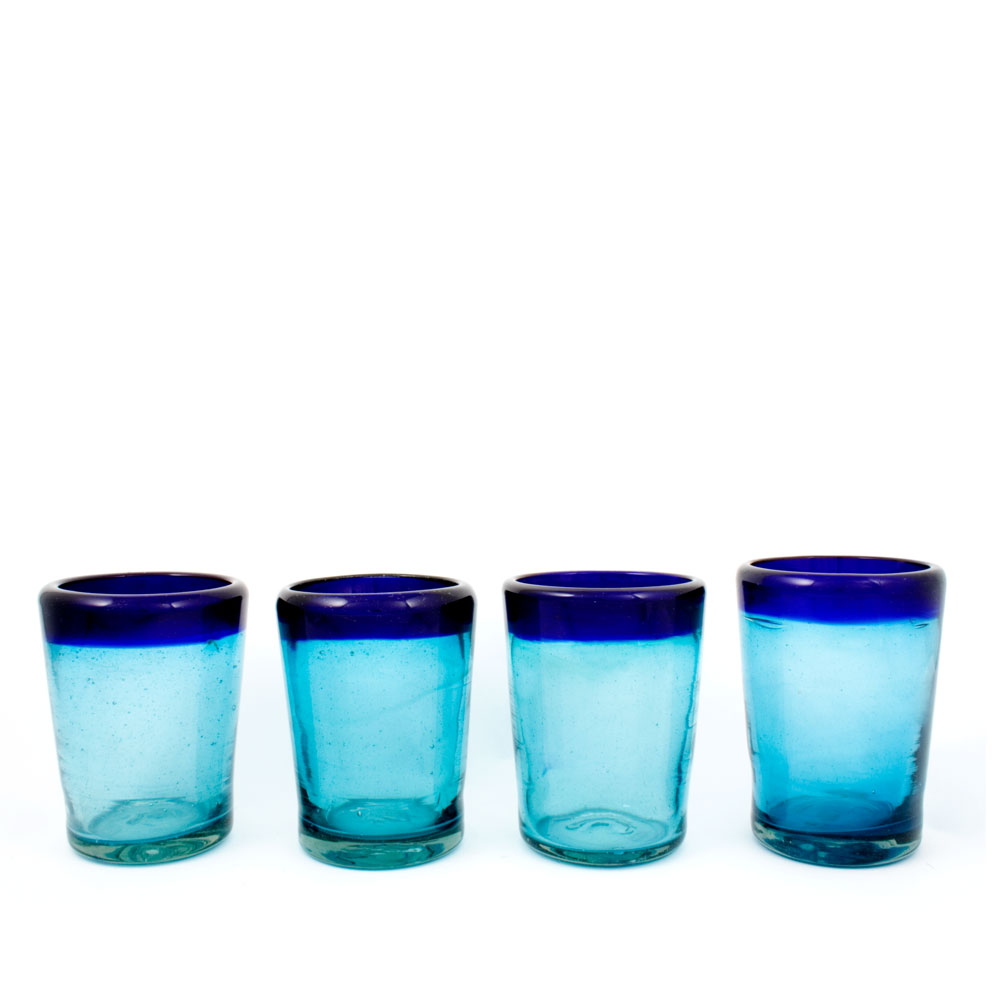 Blue and turquoise tumbler.