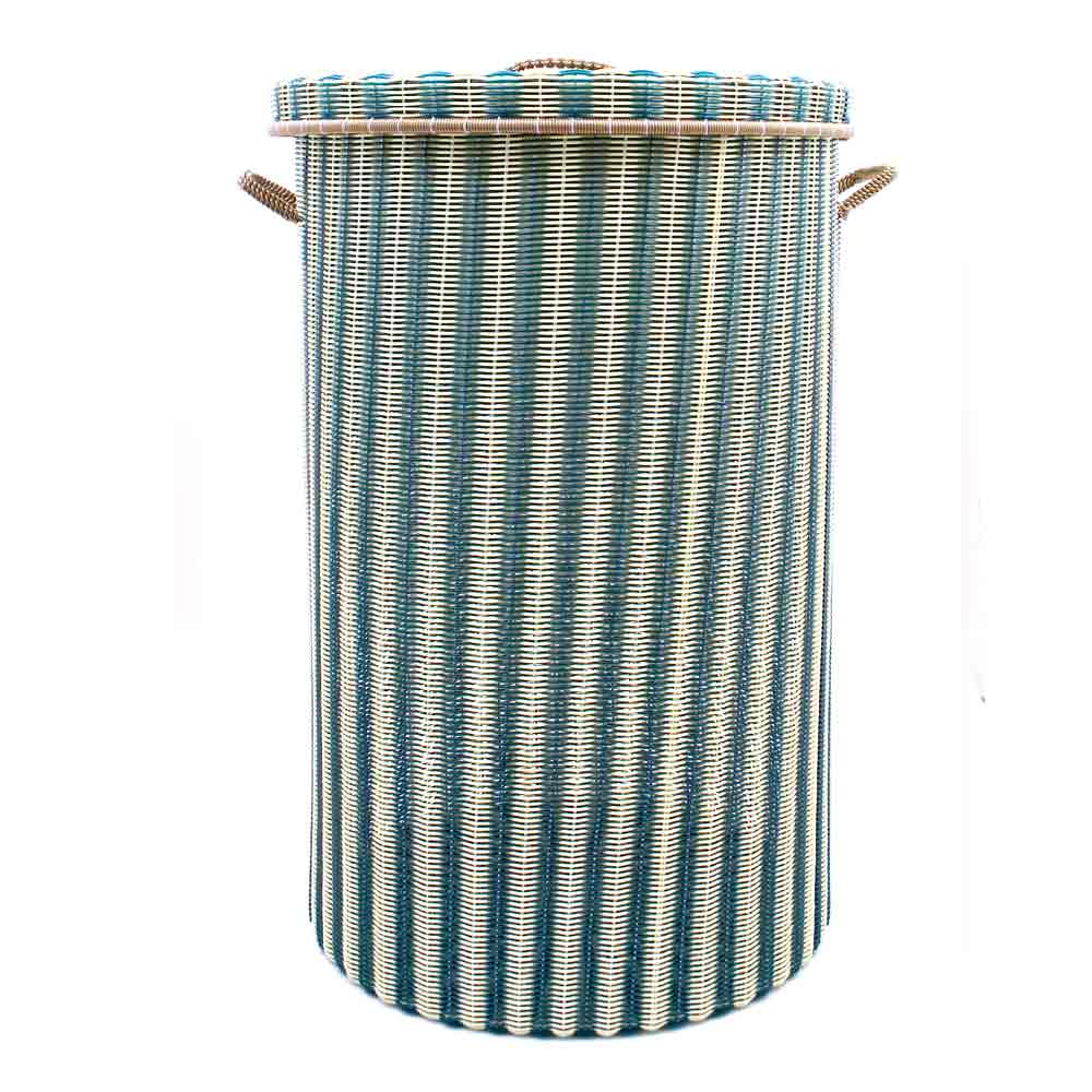 cream and green large laundry basket