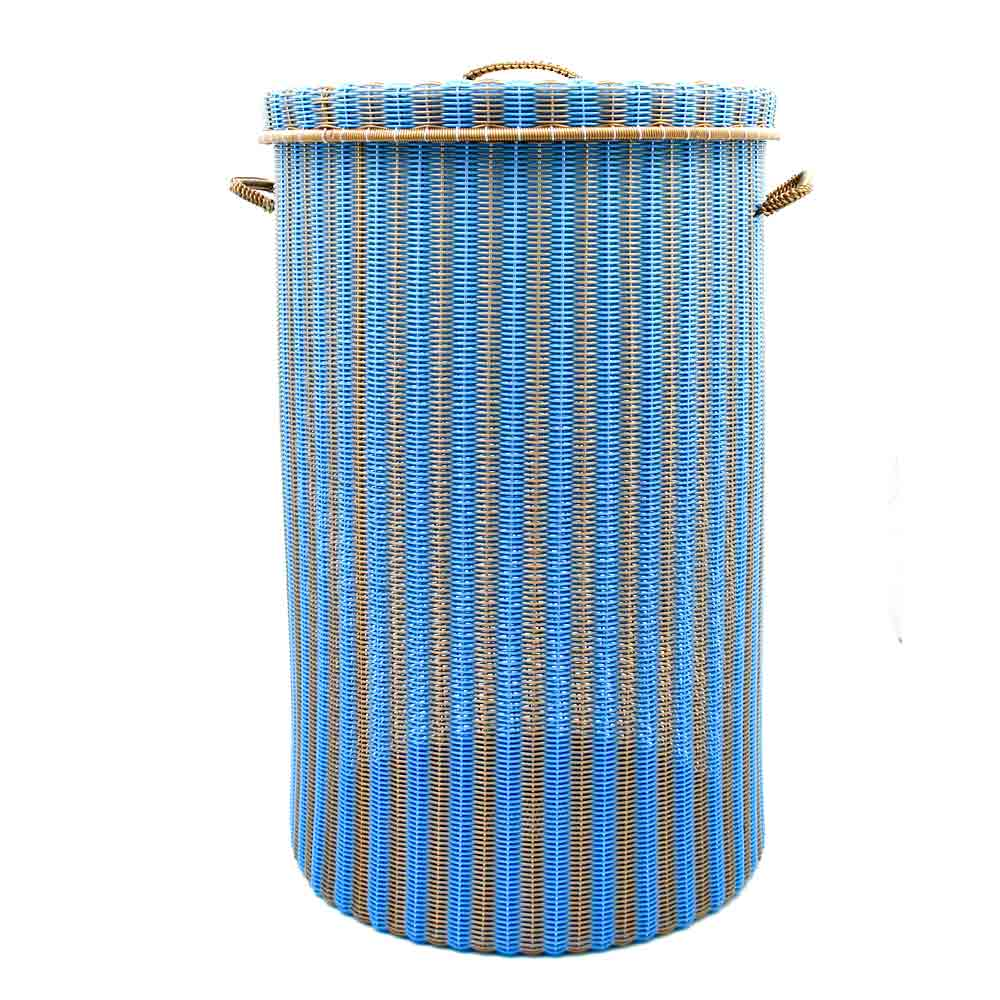 gold and blue large laundry basket