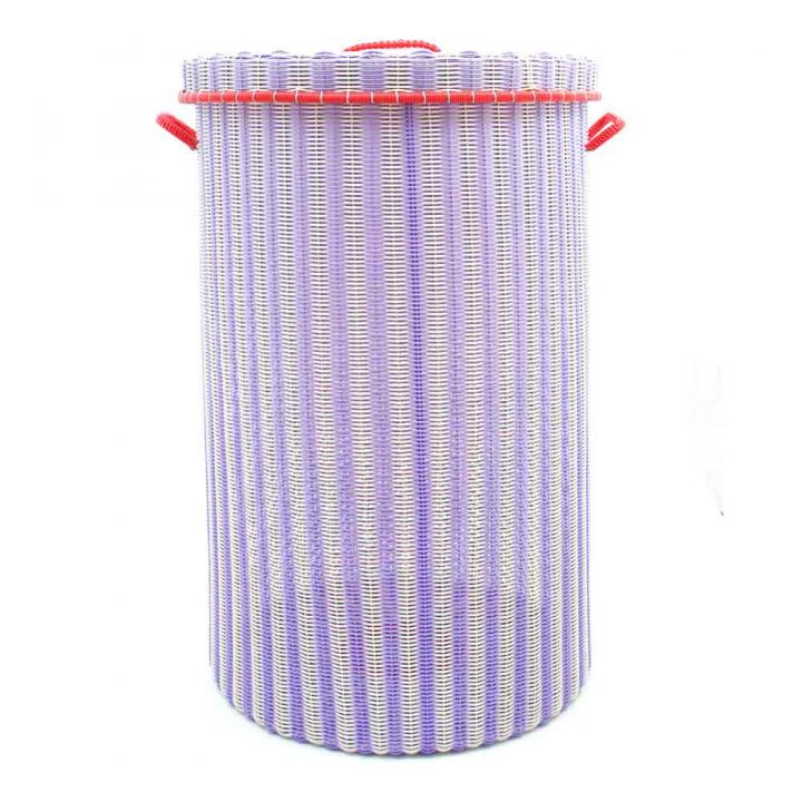 lilac and cream large laundry basket.