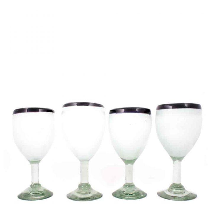 cleare with a purple rim wine glass
