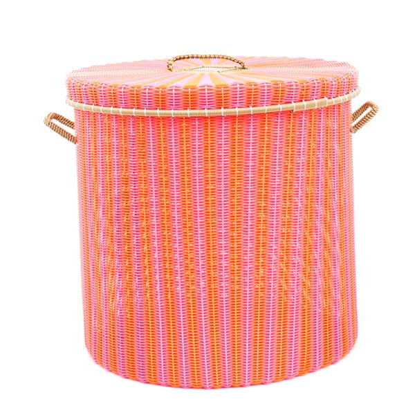 pink and orange storage basket