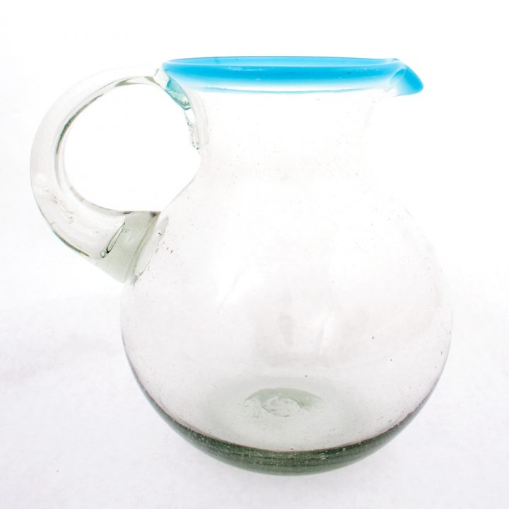 clear with turquoise rim jug