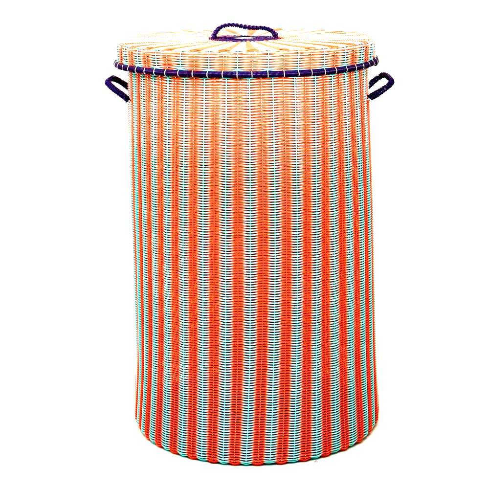 orange green laundry basket