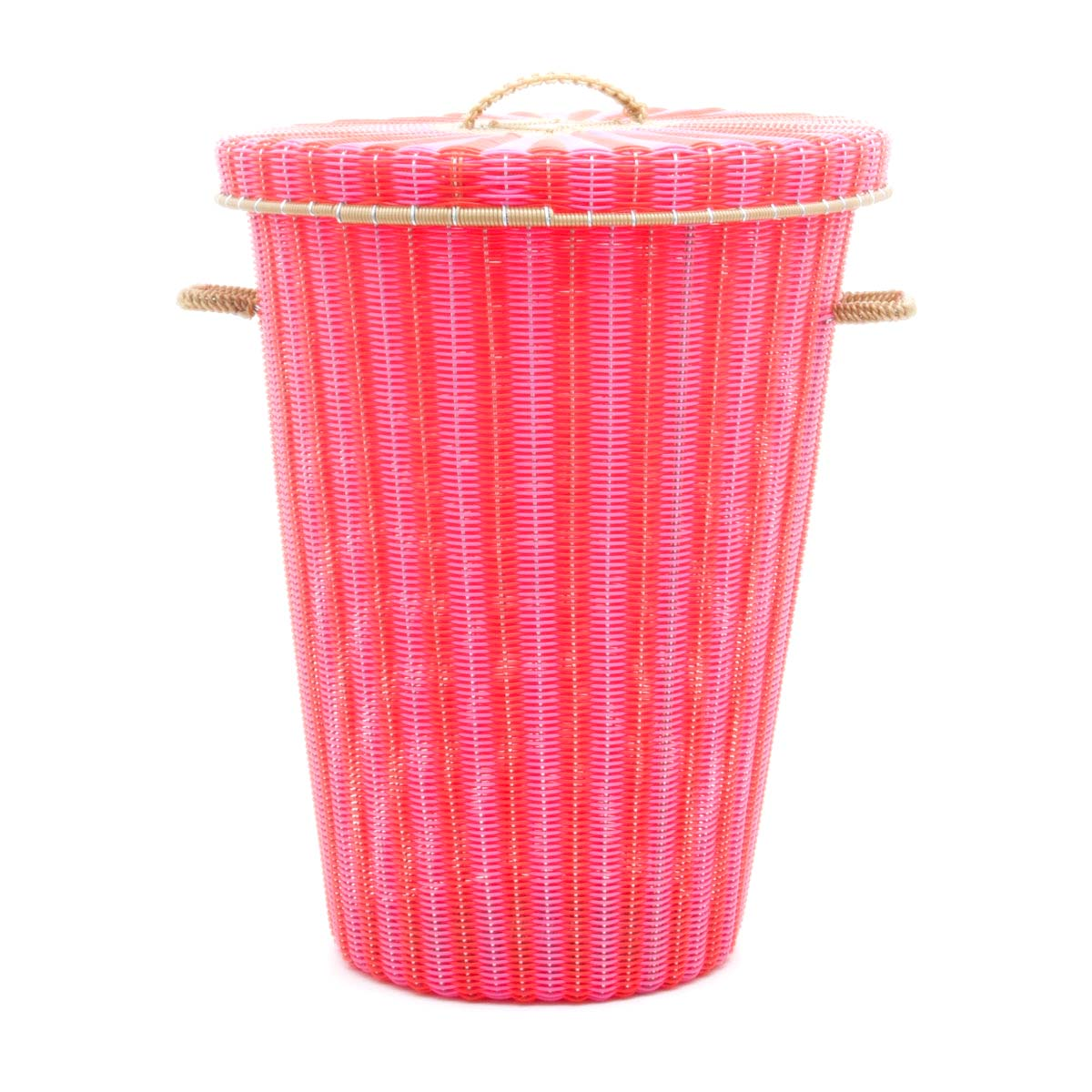pink red laundry basket