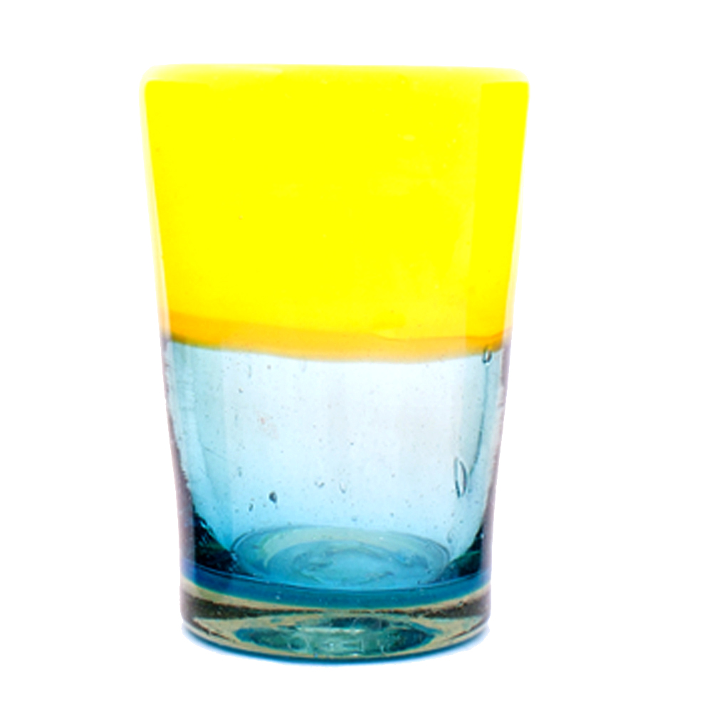 turquoise and yellow recycled glass