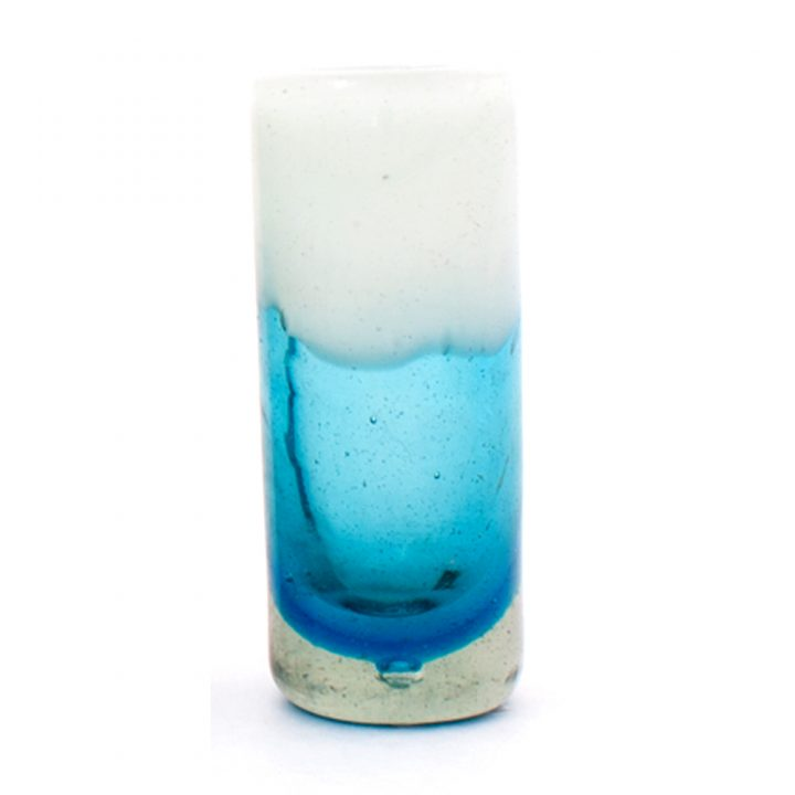 turquoise and white tequila glass