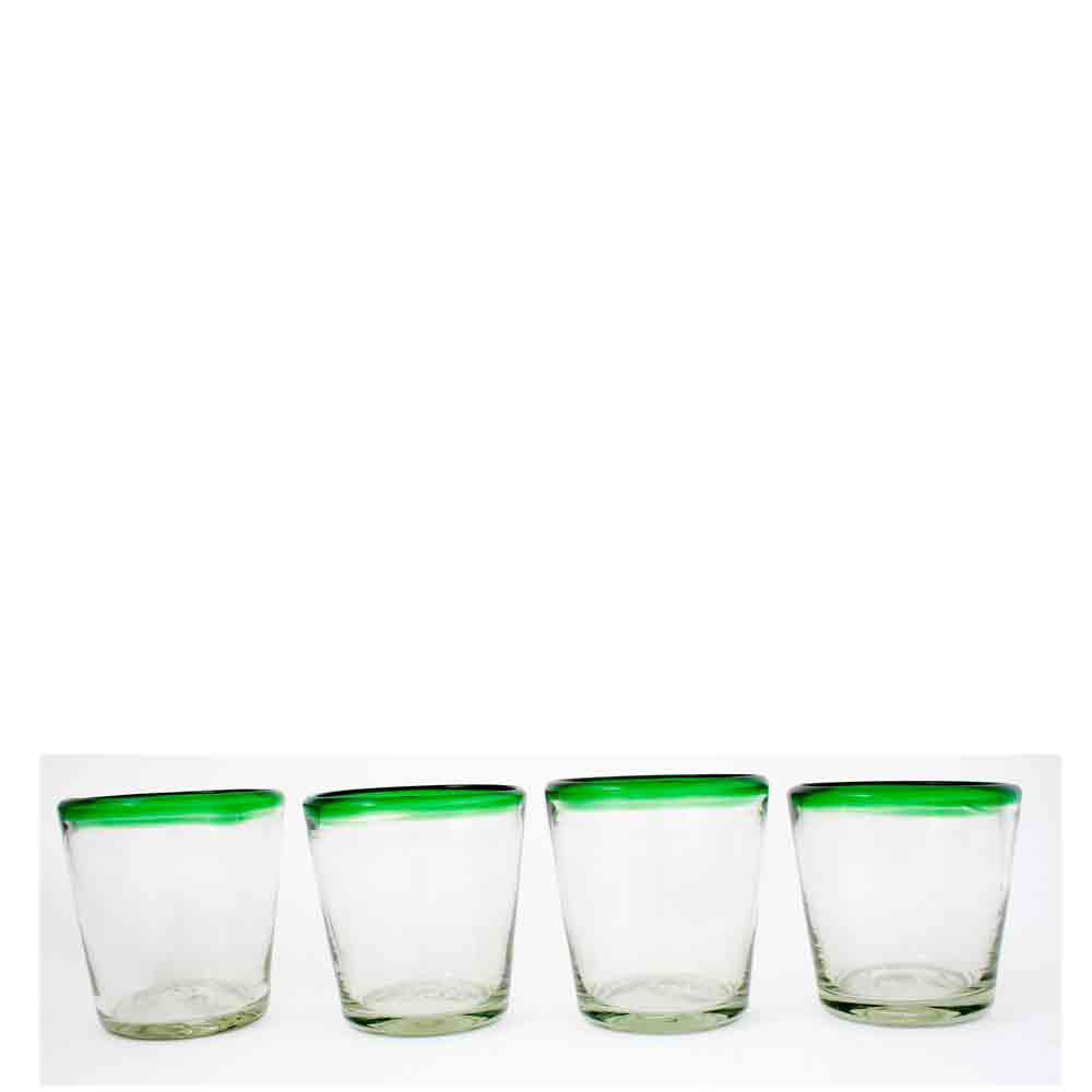 clear with a gren rim roca tumbler.