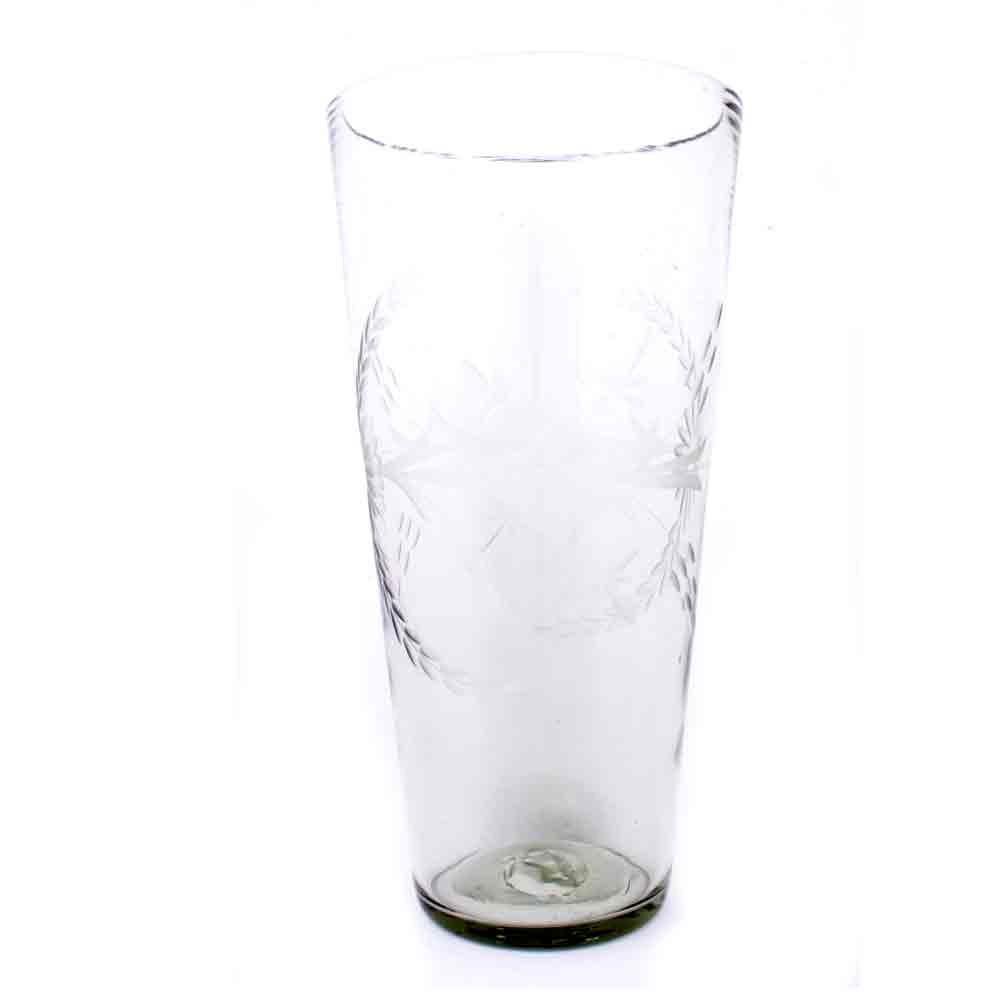clear flared engraved vase.