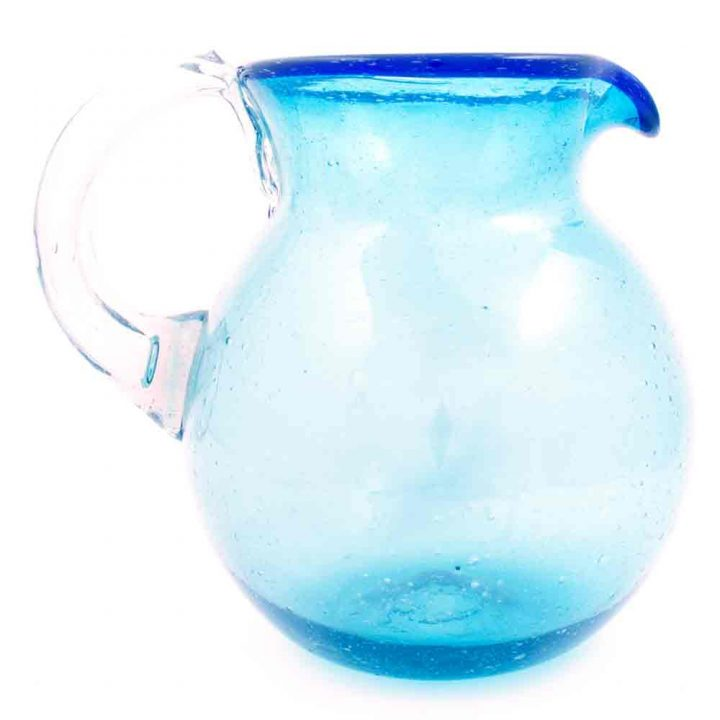 turquoise and blue round jug.