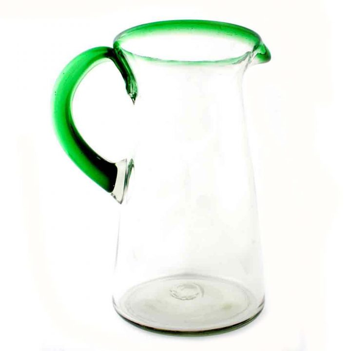 clear lechero jug with green rim