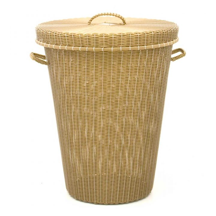 Gold hand made laundry basket