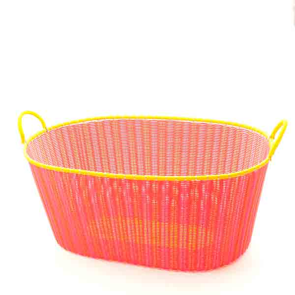 pink and orange ironing basket