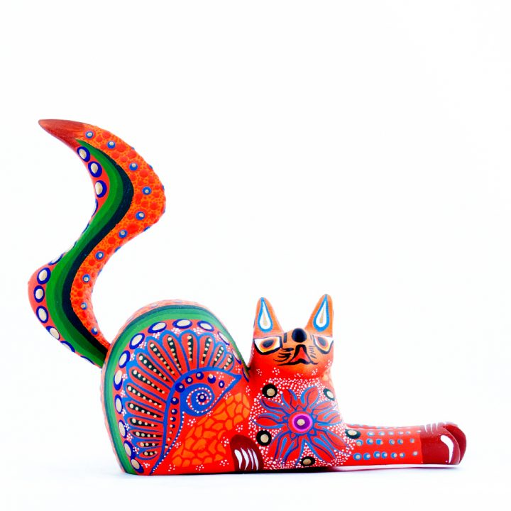 Mexican wooden cat hand made