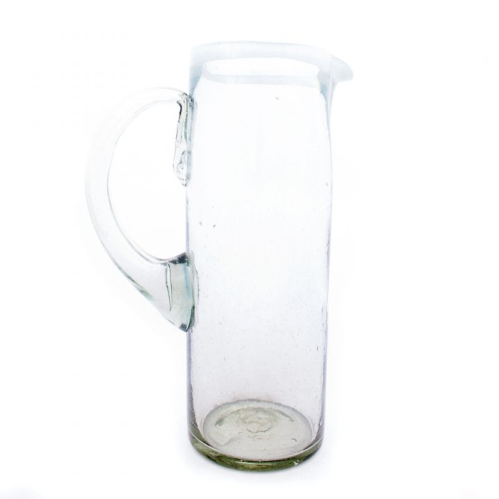 Clear straight jug with with rim recycled glass