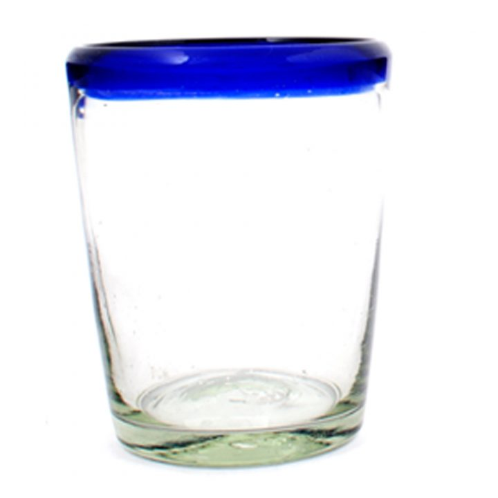 Clear with a blue rim roca tumbler hand made in Mexico