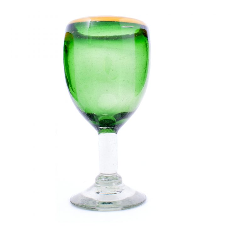 Green with a yellow rim wine glass hand made wineglass