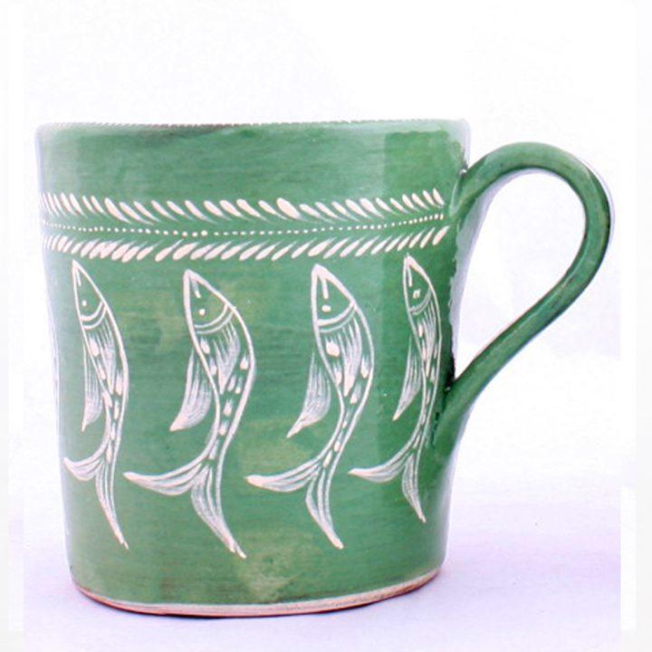 green fish mug