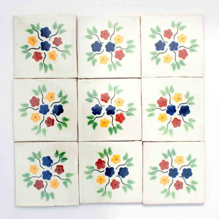 Bouquet hand made wall tiles