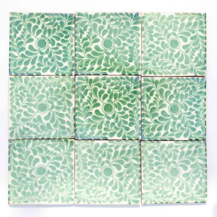 capelo green Hand made Mexican wall tiles