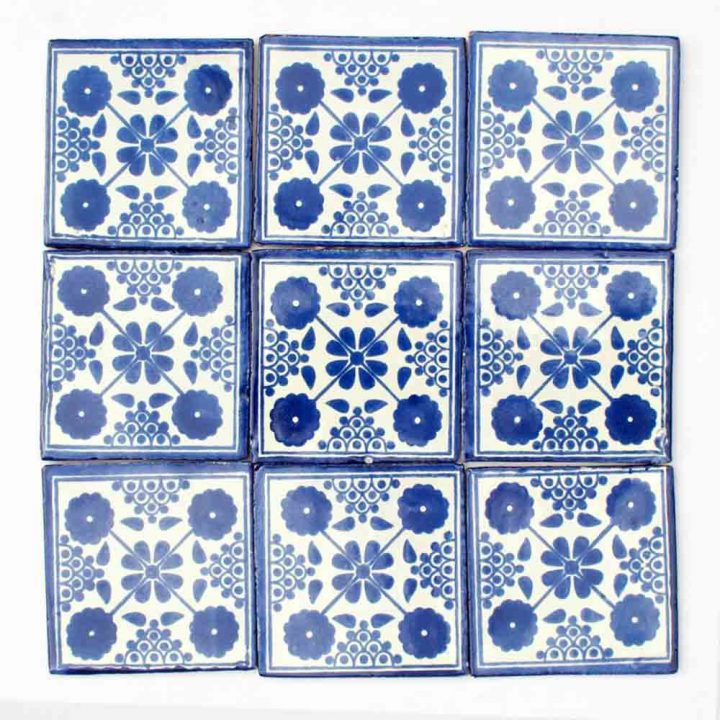 Damask blue hand made wall tiles