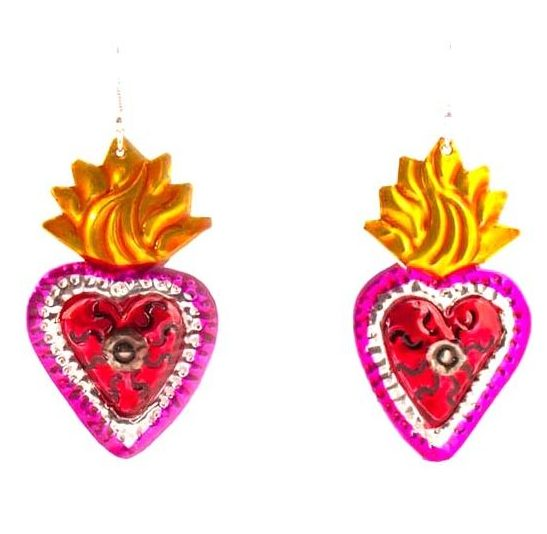 Red heart earring with yellow flaming heart
