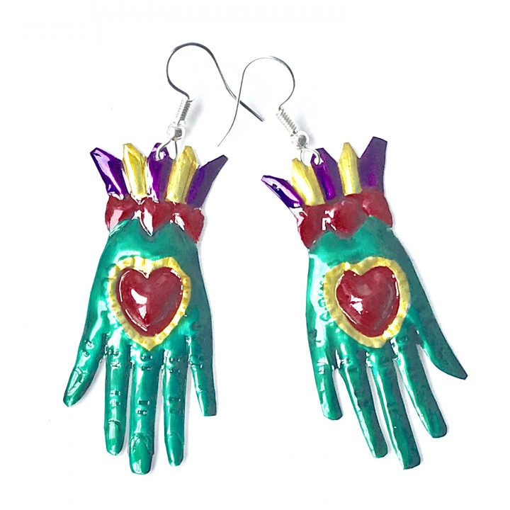 Tin earring - green hands in gloves