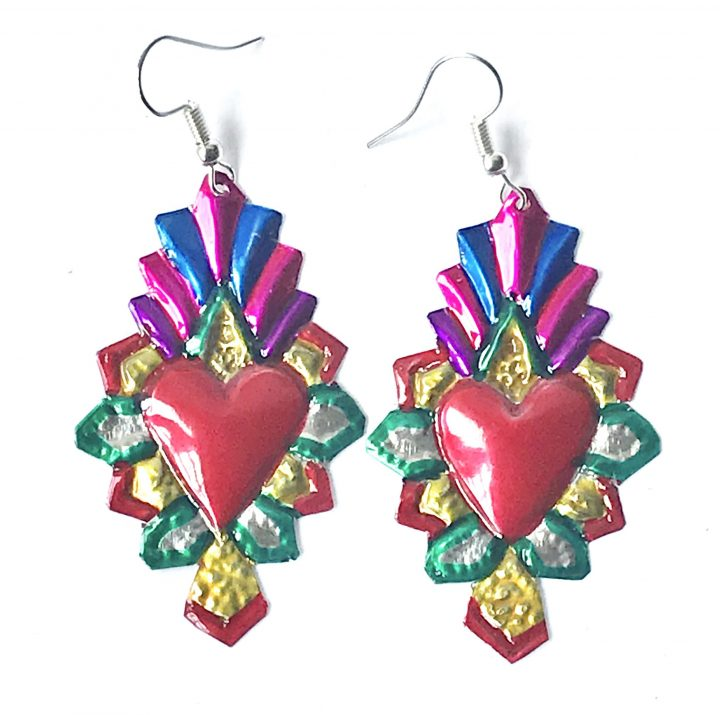 tin earring hand made in Mexico