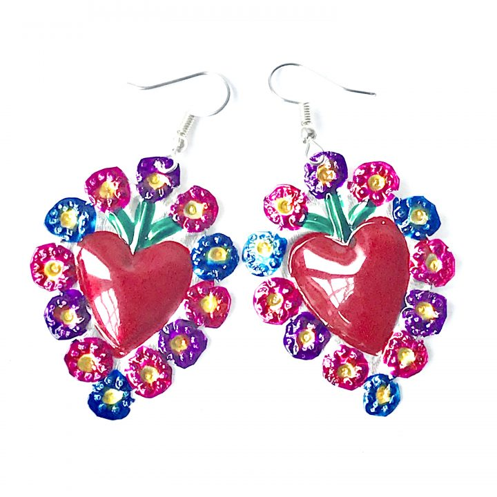 Tin heart earring hand made in Mexico