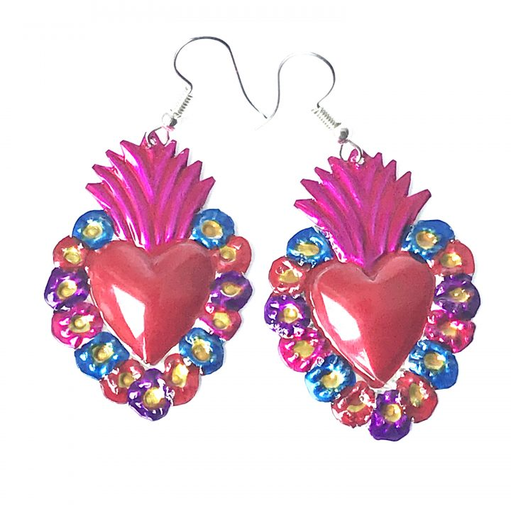 Flaming tin heart earring